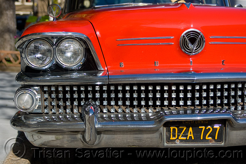 1958 buick special coupe - red - grid (san francisco), 1958, automobile, buick special, classic car, coupe, front, grid, headlight, red