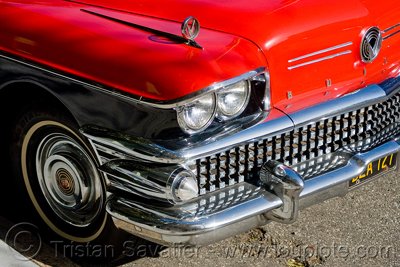 1958 buick special - red coupe (san francisco), 1958, automobile, buick special, classic car, coupe, front, grid, headlight, red