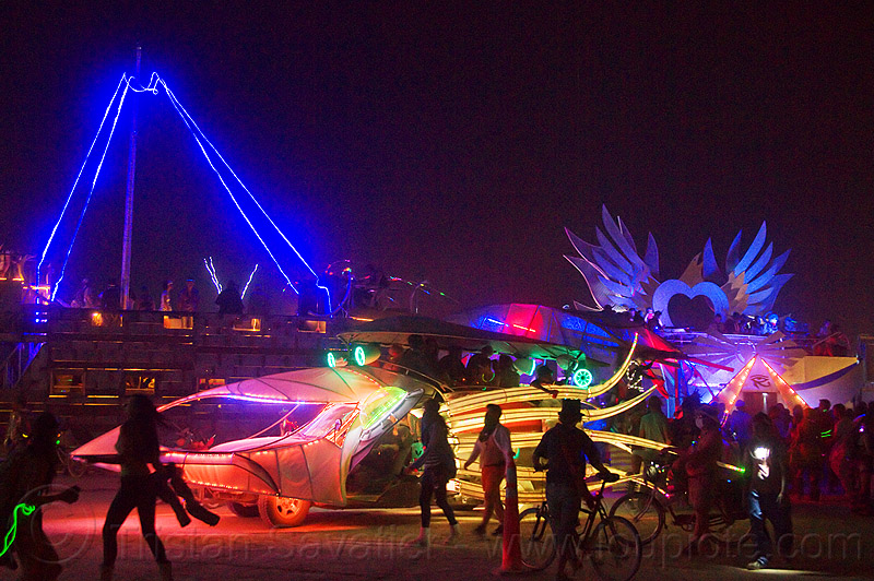burning man 2013, burning man, glowing, night, squid art car, squidcar