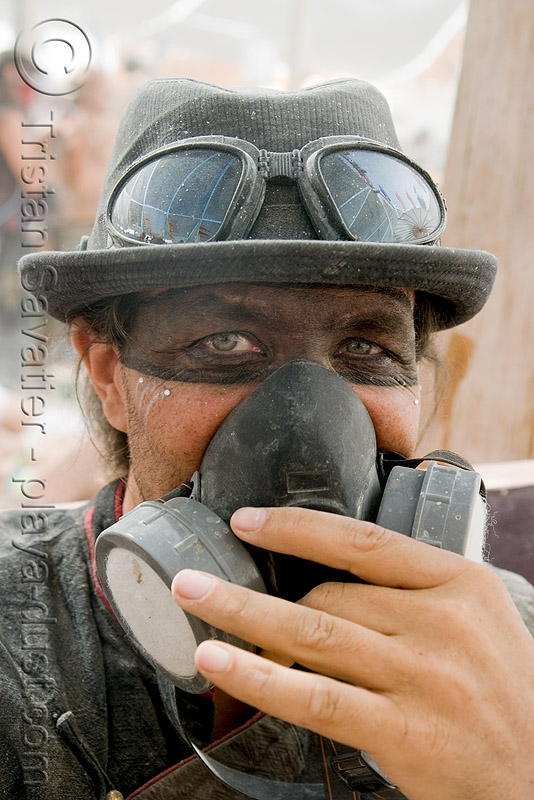 3M respirator - dust particulate mask, 3m respirator, burning man, center camp, dust mask, goggles, hat, jerry hand, jerry's hand, respirator cartridges
