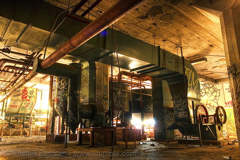 abandoned factory (san francisco), derelict, ducts, industrial, pipes, tags, tie's warehouse, trespassing