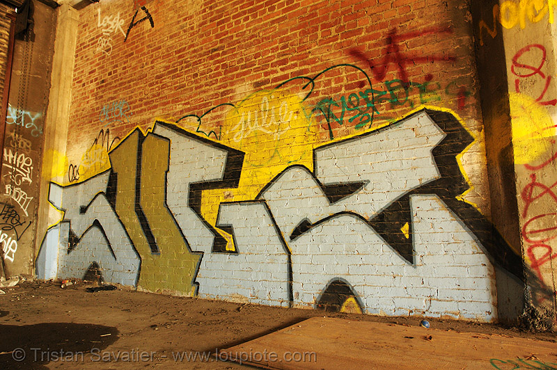 abandoned factory (san francisco), brick wall, derelict, graffiti piece, street art, sugz, tie's warehouse, trespassing
