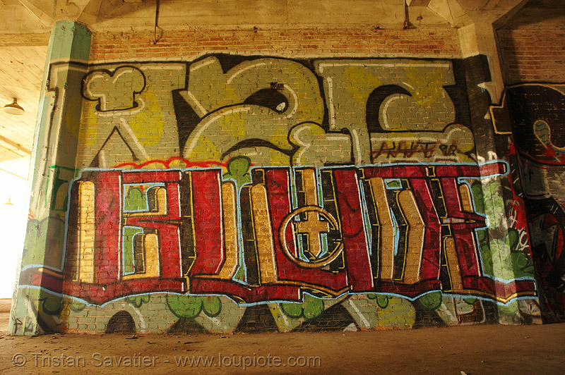 abandoned factory (san francisco), abandoned factory, blude, derelict, graffiti piece, industrial, street art, tags, tie's warehouse, trespassing