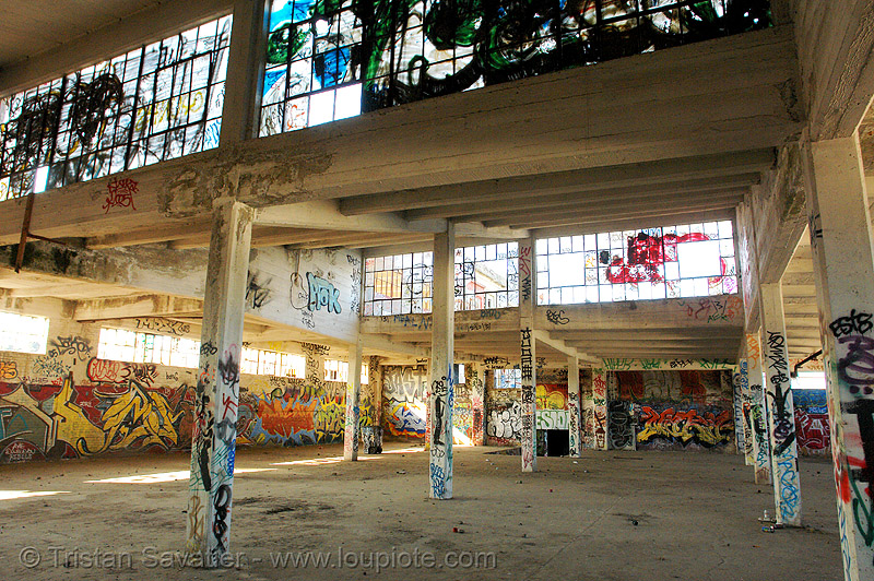 abandoned factory (san francisco), derelict, graffiti, graffiti piece, industrial, street art, tags, tie's warehouse, trespassing