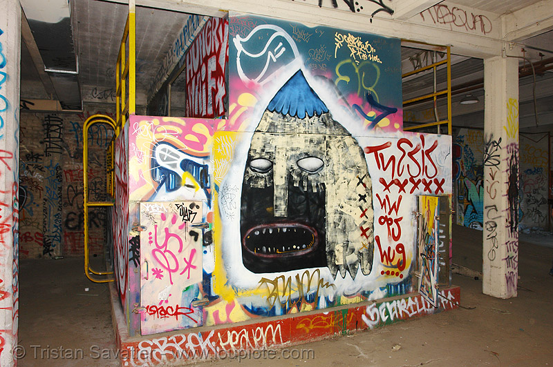 abandoned factory (san francisco), derelict, graffiti piece, street art, tie's warehouse, trespassing