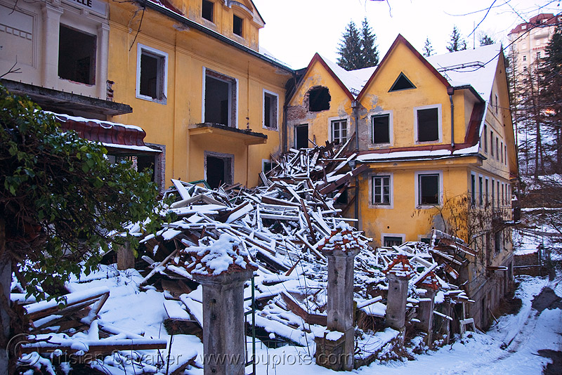 abandoned hotel - bad gastein (austria), abandoned, bad gastein, hotel, ruins, snow, yellow