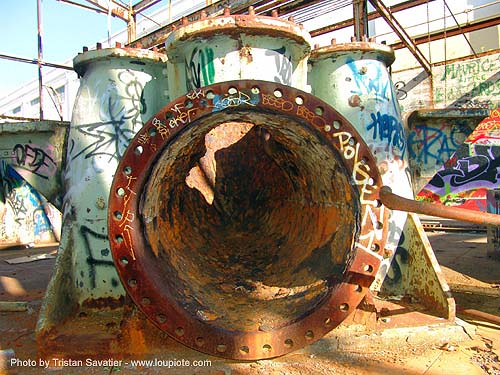 abandoned industrial area (san francisco), abandoned, decay, industrial, power house, power plant, power station, trespassing, turbine manifold, urban exploration