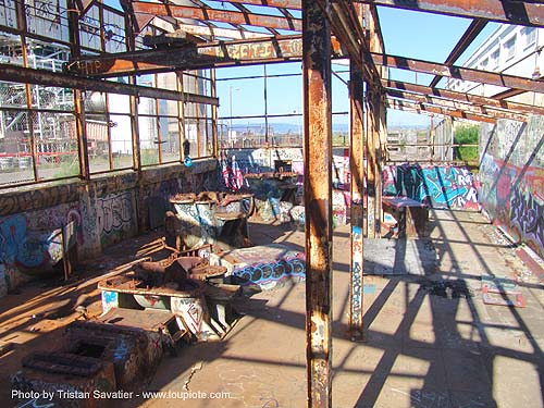 abandoned industrial area (san francisco), decay, graffiti, trespassing, urban exploration