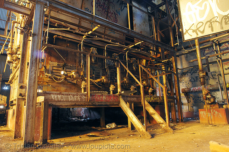 abandoned industrial furnace, derelict, furnace, graffiti, pipes, rusty, street art, tie's warehouse, trespassing