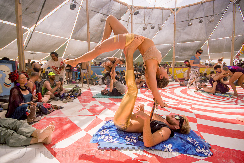 acro-yoga stretching - burning man 2015, bending backward, center camp, jordan, people, woman