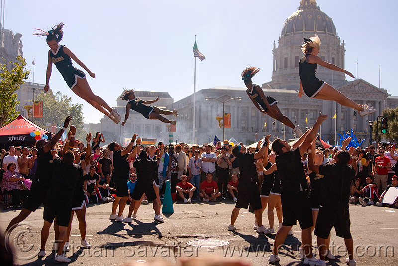 acrobatics - cheer leaders, acrobatics, cheer leaders, crowd, gay pride festival