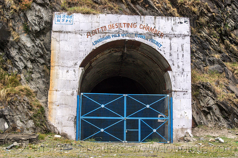adit to desilting chamber - loharinag-pala hydro power project (india), adit, bhagirathi valley, closed, entrance, gate, hydro electric, india, locked, loharinag-pala hydro power project, tunnel