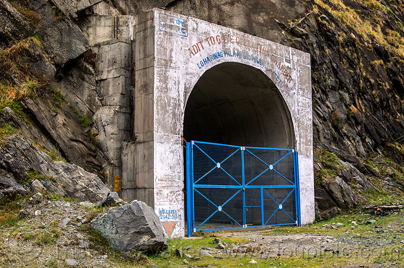adit to gate operation chamber - loharinag-pala hydro power project (india), adit, bhagirathi valley, closed, entrance, gate, hydro electric, infrastructure, locked, loharinag-pala hydro power project, tunnel