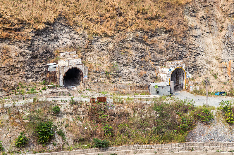 adits to teesta power house - tunnels entrances (india), adit, hydro electric, infrastructure, road, teesta river, tista, tunnels, west bengal
