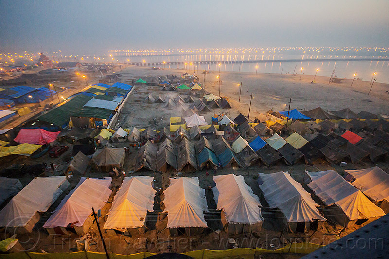 aerial view of kumbh mela 2013 festival (india), aerial photo, dawn, ganga river, ganges river, hindu, hinduism, kumbha mela, maha kumbh mela, tents, water
