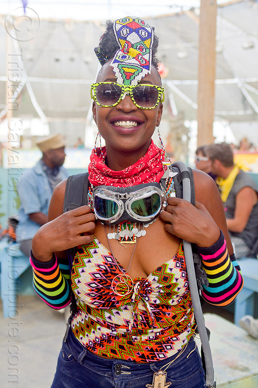 african woman - burning man 2013, center camp, goggles, headdress, people, sunglasses