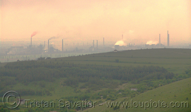 air pollution - environment - smokestacks near sofia (bulgaria), haze, hazy, industrial, smog, smoke, smokeskack, българия