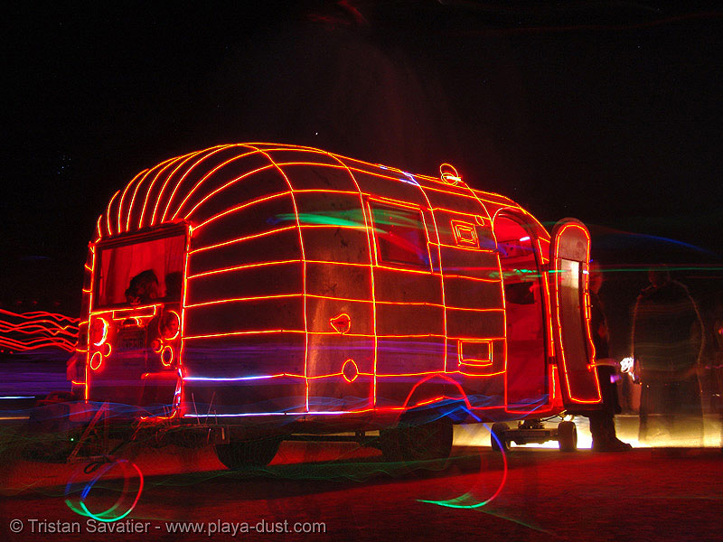 airstream dream - burning-man 2005, airstream dream, art car, burning man, el-wire, electroluminescent wire, night