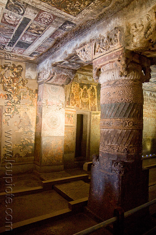 ajanta caves - ancient buddhist temples (india), ajanta caves, buddhism, buddhist temple, carving, cave, column, rock-cut