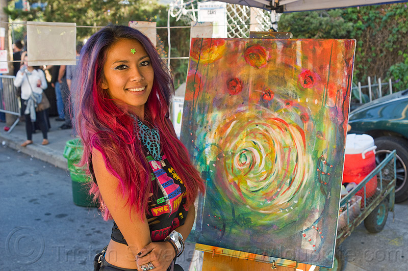 akiko - abstract painting, abstract painting, akika, artist, burning man decompression, canvas, painter, woman