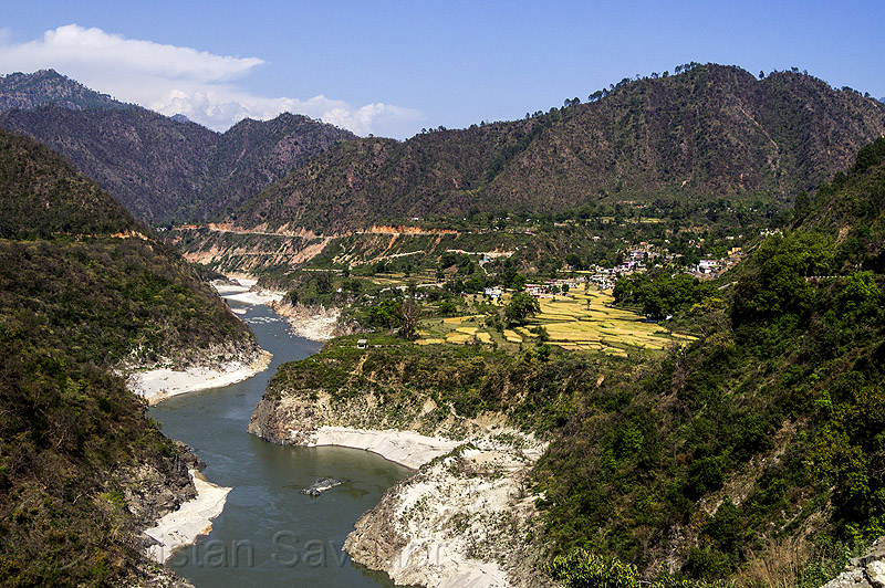 alaknanda river valley (india), hills, mountains, river bed, water, winding
