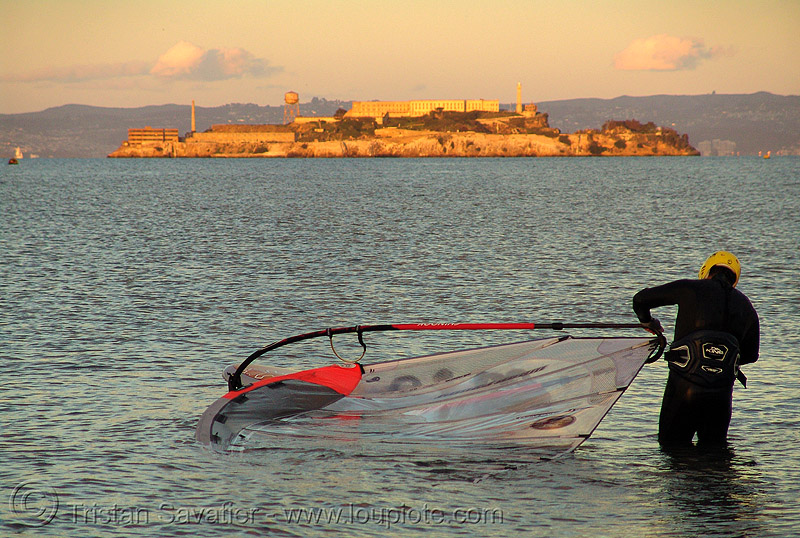 alcatraz and windsurfer at sunset (san francisco), alcatraz, ocean, san francisco bay, sea, sunset, windsurf, windsurfer