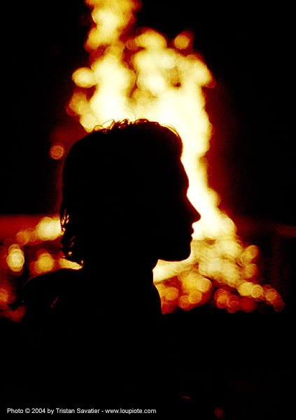 alex-fire (alexandra cheval), alex cheval, alix, alix cheval, backlight, burning, flames, people, profile, silhouette