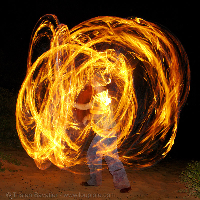 alex spinning poi (san francisco), fire dancer, fire dancing, fire performer, fire poi, fire spinning, flames, long exposure, night, shanti alex, spinning fire