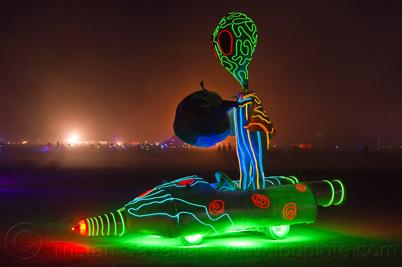 alien art car - burning man 2012, alien, burning man, glowing, mutant vehicles, night, unidentified art car