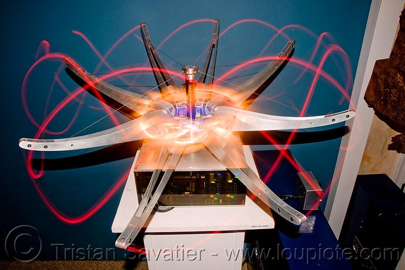 alien technology - electromechanical art by carl pisaturo (san francisco), area 2881, exposure, glowing, led lights, led-light, long, long exposure, machines, mapp, moving, octopus, robotic
