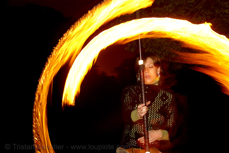 alissa spinning fire staff (san francisco), alissa, fire dancer, fire dancing, fire performer, fire spinning, fire staff, flames, long exposure, night, spinning fire