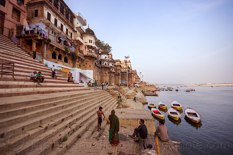 along the ghats of varanasi (india), buildings, ganga river, ganges river, ghats, houses, mooring, river bank, river boats, steps, varanasi, water