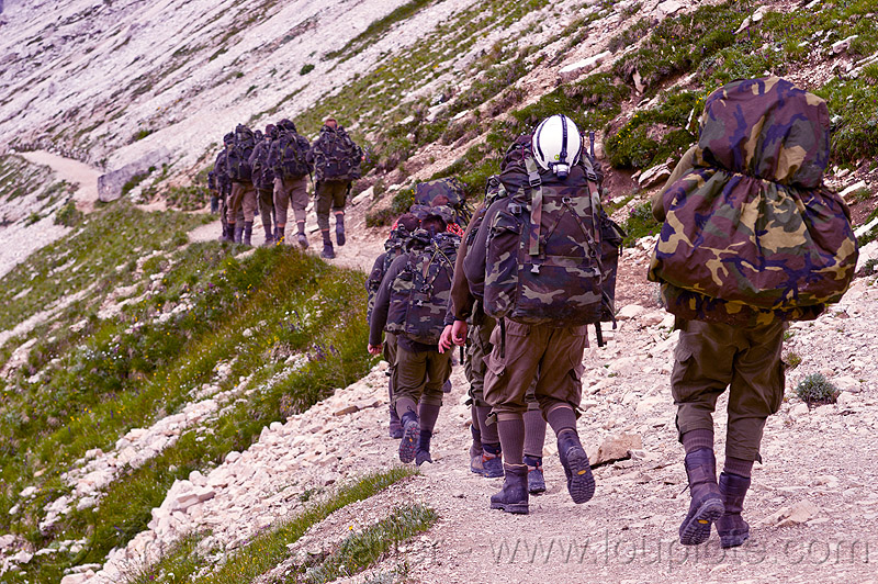 alpini - mountain troops, alpines, alpini, alps, army green, battledress, boots, camouflage, climbing helmet, dolomites, fatigues, heavy backpacks, hiking, italian army, khaki, men, military, mountain infantry, mountain troops, mountains, parco naturale dolomiti di sesto, soldiers, trail, traning, uniform, walking