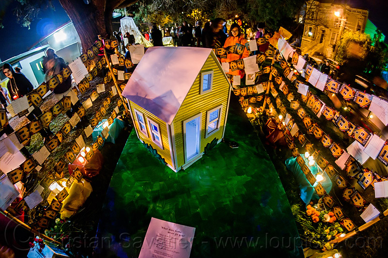 altar de muerto in shape of small house - dia de los muertos (san francisco), altar de muertos, candles, day of the dead, dia de los muertos, halloween, house, housing, memorial, night