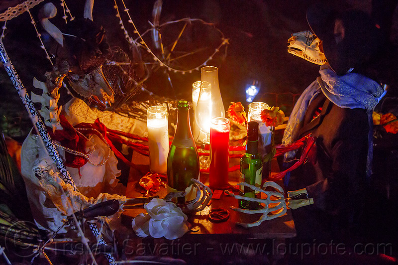 altar de muerto - lovers dinner - dia de los muertos, altar de muertos, animal skeletons, candles, day of the dead, dia de los muertos, dinner, halloween, memorial, night, table