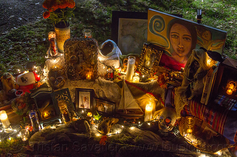 altar de muerto with candles, altar de muertos, candles, day of the dead, dia de los muertos, halloween, memorial, night