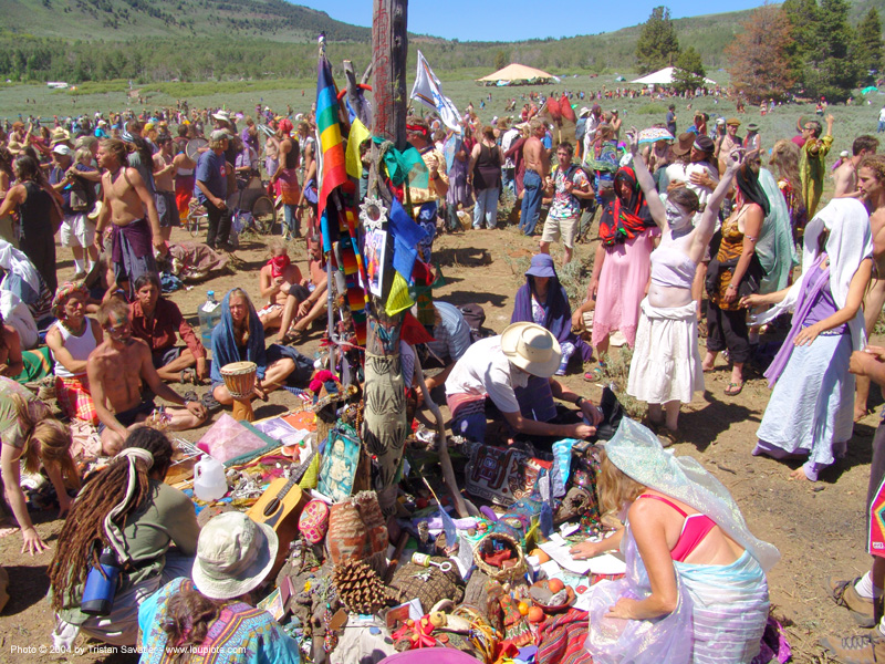 altar - rainbow gathering - hippie, altar, crowd, hippie, rainbow family, rainbow gathering