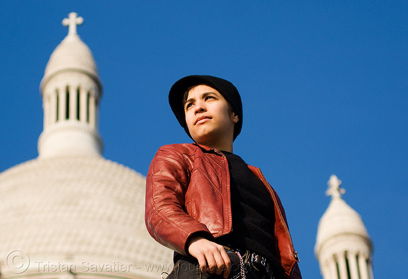 alyssa at the sacré-coeur basilica in paris, alyssa, androgynous, basilica, blue, cross, montmartre, paris, sacre-coeur, sacré-coeur, woman
