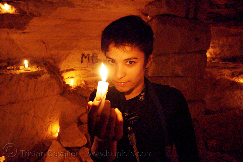 alyssa - catacombes de paris - catacombs of paris (off-limit area) - candles, alyssa, androgynous, candles, catacombs of paris, cataphile, cave, clandestines, fire, flames, illegal, new year's eve 2008, the devil, underground quarry, wax, woman