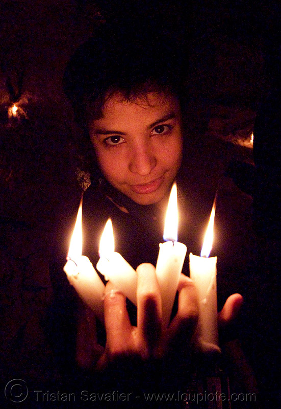 alyssa is the devil - catacombes de paris - catacombs of paris (off-limit area) - candles, alyssa, androgynous, candles, catacombs of paris, cataphile, cave, clandestines, fire, flames, illegal, low key, new year's eve 2008, the devil, underground quarry, wax, woman