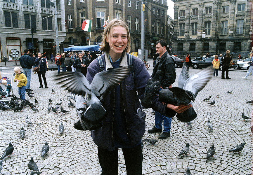 amsterdam - girl with pigeons, amsterdam, birds, pigeons, stranger, woman