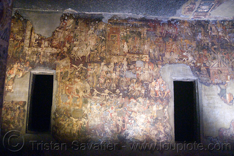 ancient buddhist paintings - ajanta caves temples (india), ajanta caves, buddhism, cave, painting, rock-cut