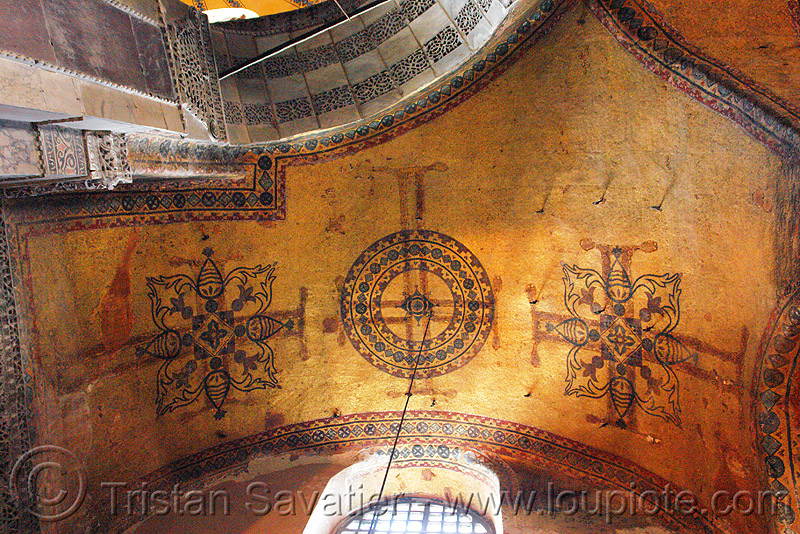 ancient crosses images percolating through the plaster - aya sofya (istanbul), architecture, byzantine, church, cross, hagia sophia, inside, interior, islam, mosque, orthodox, orthodox christian, painting, religion
