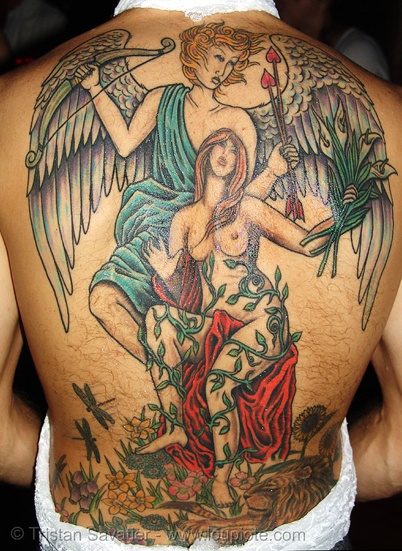 angel tattoo - backpiece, angel wings tattoo, art, christoph, party, skin, tattooed, tattoos