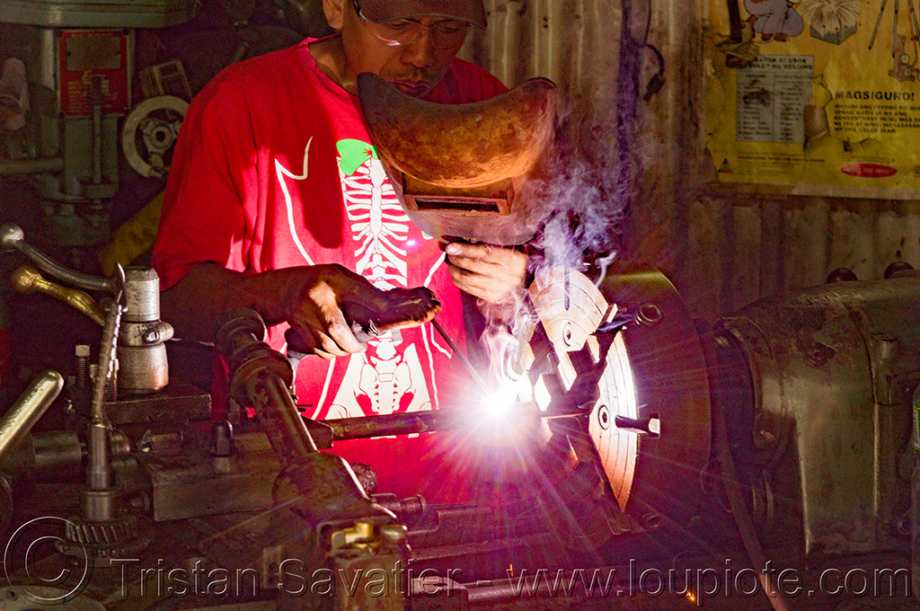 (philippines), arc welding, baguio, machine shop, machine tool, man, mechanical workshop, metal lathe, operator, philippines, welder, worker, working