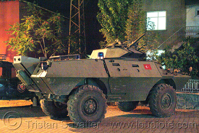 armored vehicle - turkish police - kurdistan, afv, amphibious personnel carrier, apc, armored car, armored fighting vehicle, armoured car, army, law enforcement, midyat, military, night