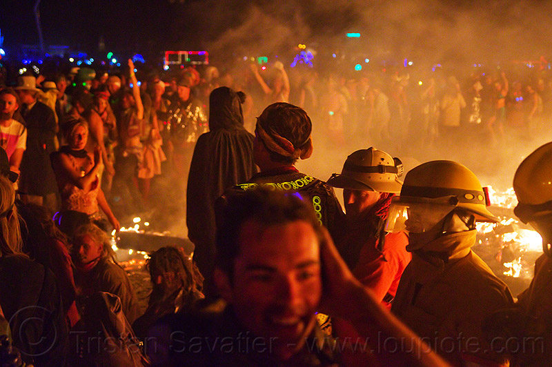 around the fire - burning man 2012, backlight, burning, dancing, drown, fire, firefighters, flames, night, silhouettes, the man