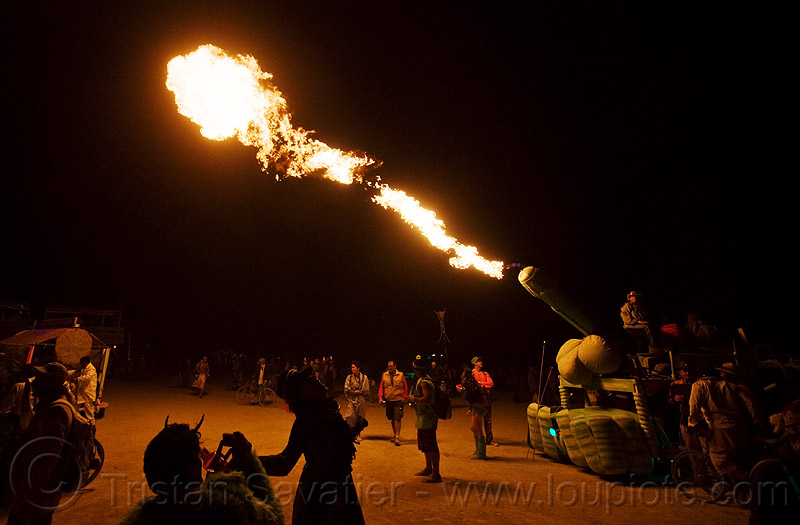 art car with fire cannon - burning man 2009, art car, burning man, fire cannon, flames, night