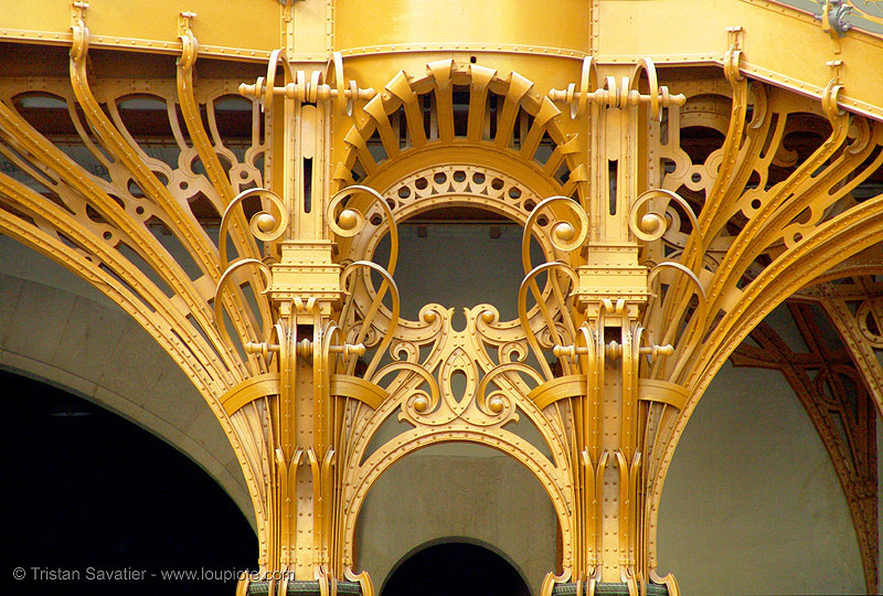art nouveau ironwork in the grand palais (paris), architecture, art nouveau, ironwork, jugendstil, metalwork, paris, wrought