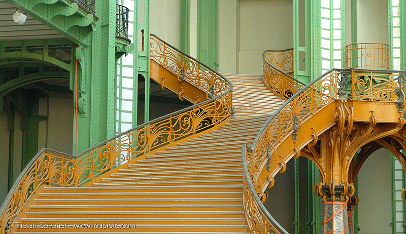 art nouveau stairs - grand palais (paris), architecture, ironwork, jugendstil, metal, metalwork, wrought